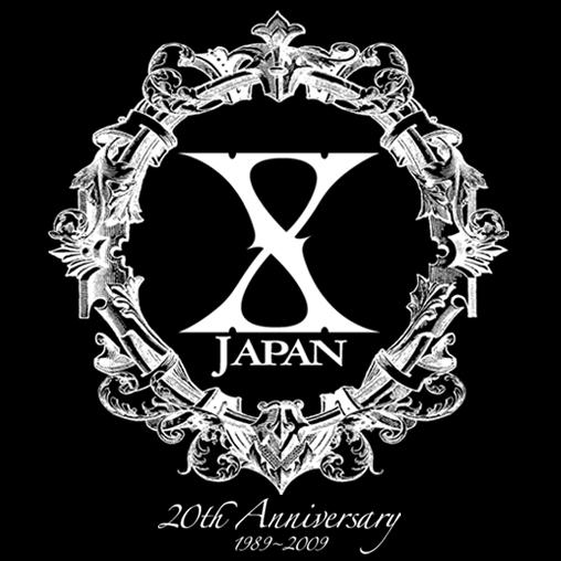 黒地に白字のリース中にX JAPANの文字が入っいるX JAPANのロゴの画像